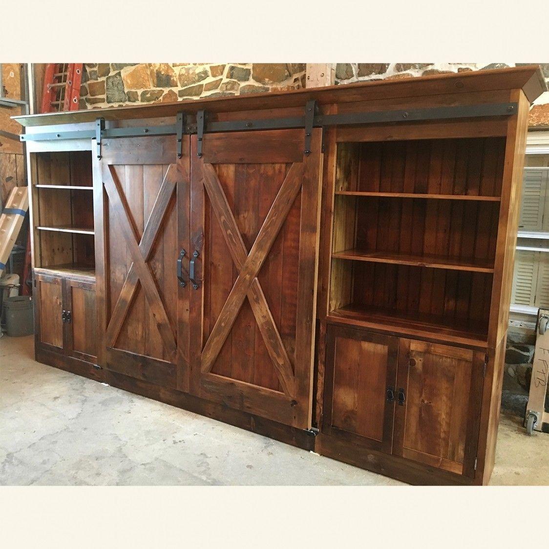 Barn Door Entertainment Cabinet With X Barn Doors ...
