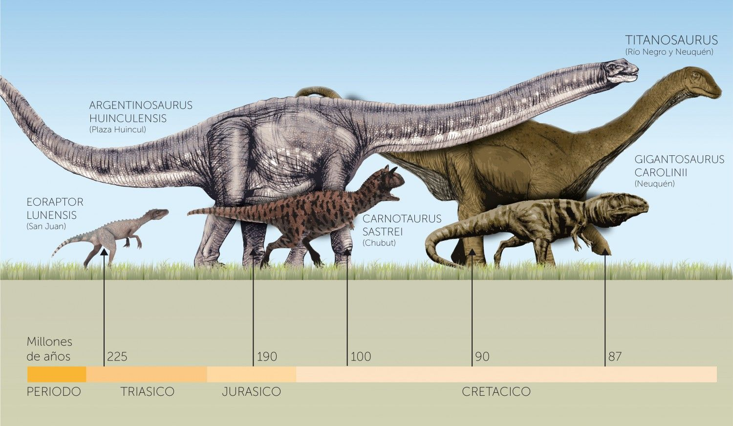 Dinosaurs, who lived Argentinean ground. Timeline showing ...