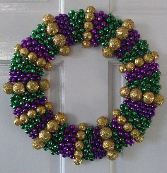 Mardi Gras Bead Wreath Medium By Bymishelle On Etsy Mardi Gras Beads Mardi Gras Wreath Mardi Gras Decorations