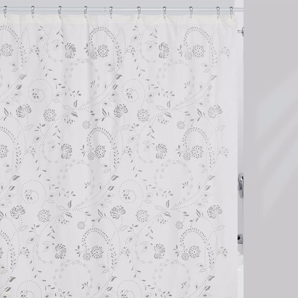 Eyelet Fabric Shower Curtain Fabric Shower Curtains White