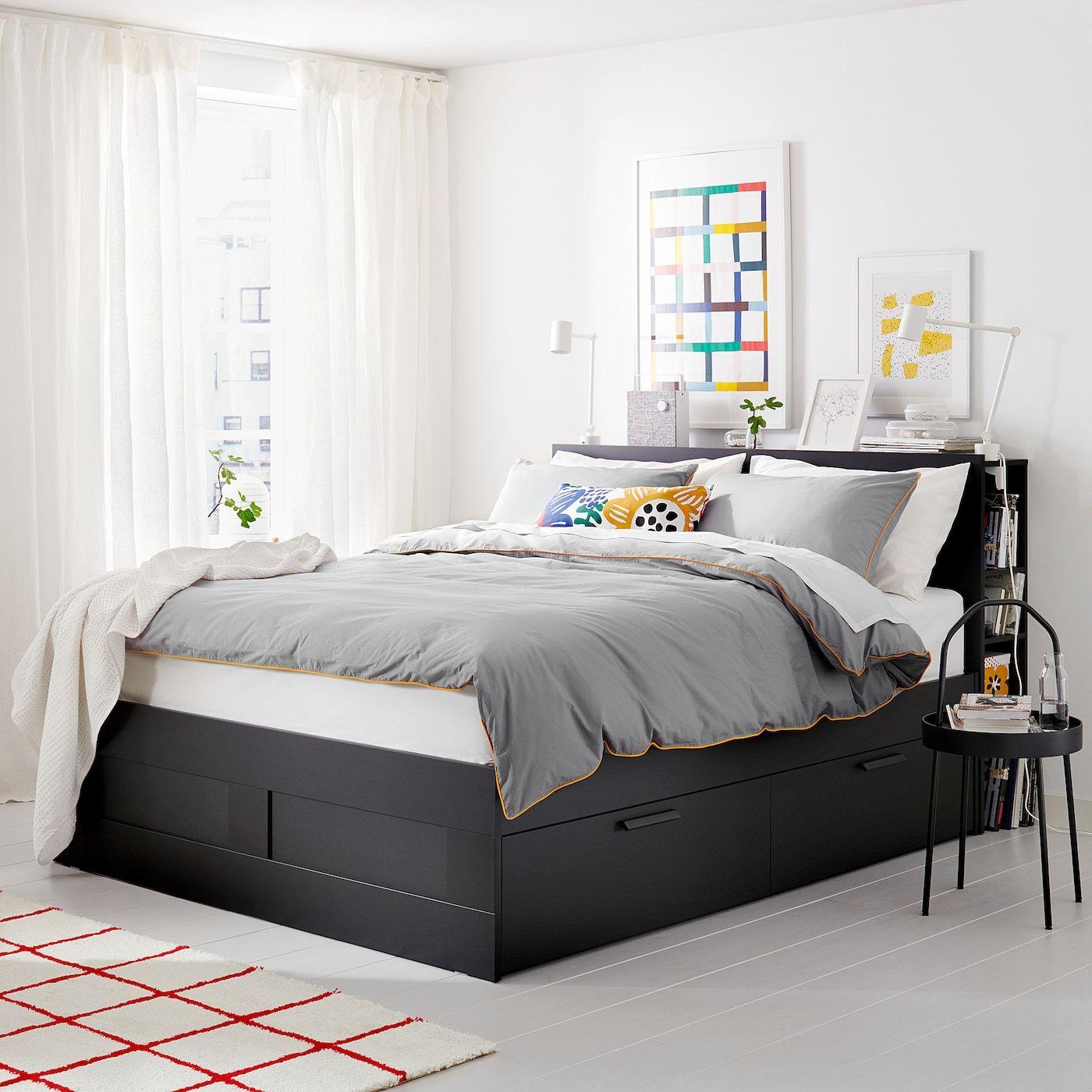 Brimnes Bed Frame With Storage Headboard Black Luroy Full