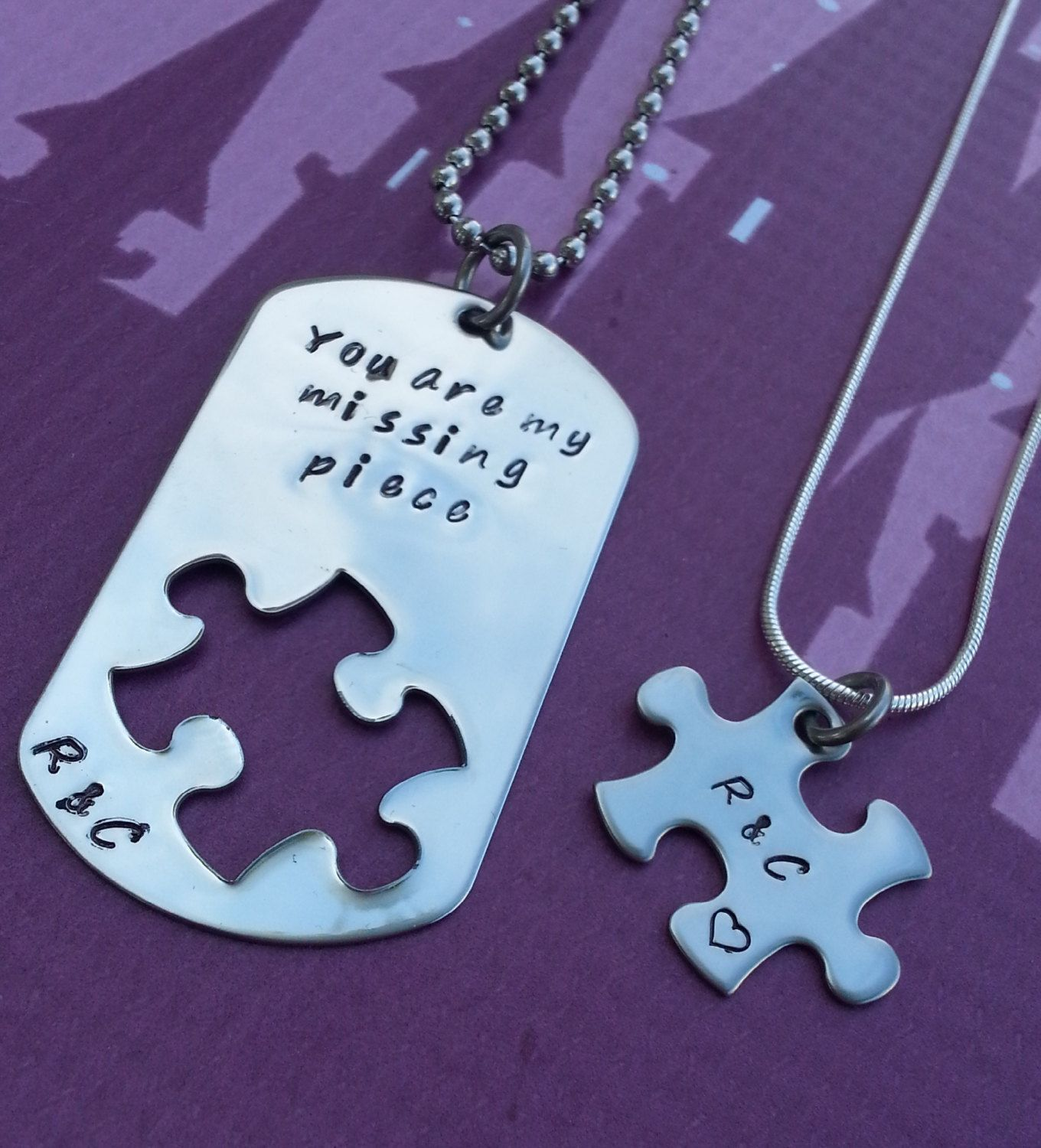 Long distance relationship gift - Him and Her, Couples Jewelry ...