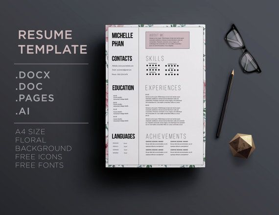 1000+ Images About Floral Cv / Resume Templates On Pinterest