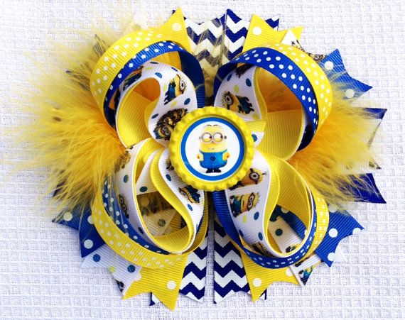 Despicable Me Minion Hair Bows by YaYasBows on Etsy, $7.50