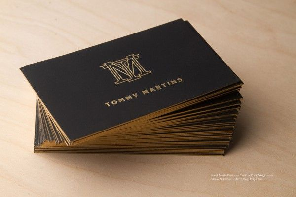 Suede Edge Foil And Stamp Luxury Monogram Name Card Design  Tommy