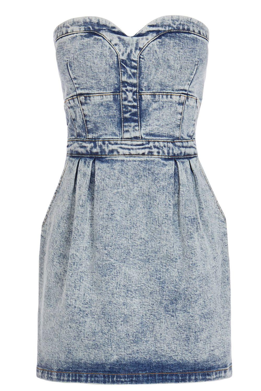 LIGHT WASH DENIM Bustier dress