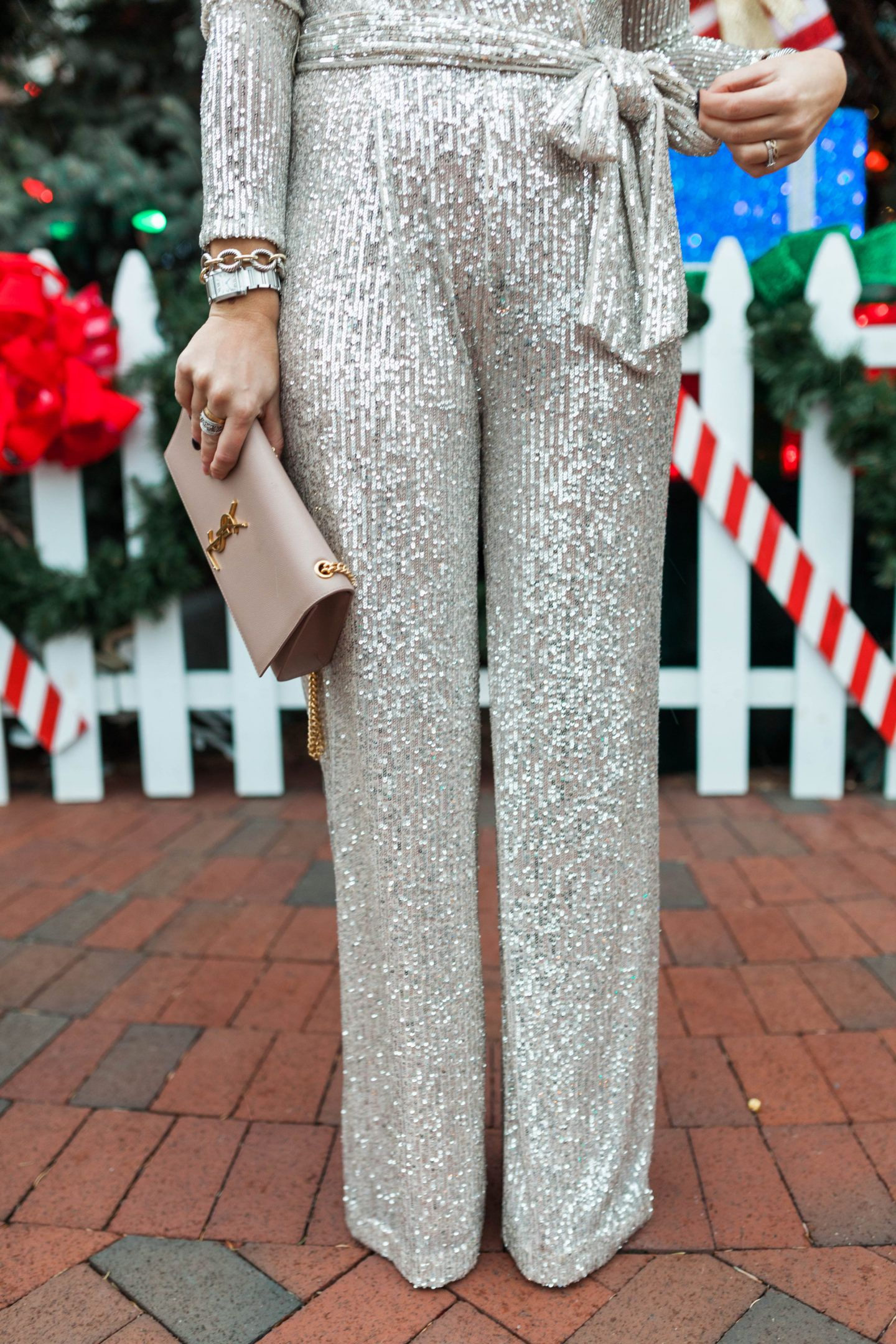 NYE Outfit Idea: Sequin Jumpsuit - Glitter & Gingham