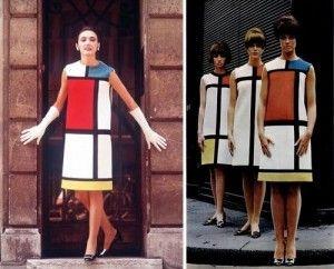 ec7894374f80 цветовая схема Ив Сен-Лорана   Yves Saint Laurent в платье «Мондриана   «Mondrian» day-dress «, с использованием нео-пластического стиля.