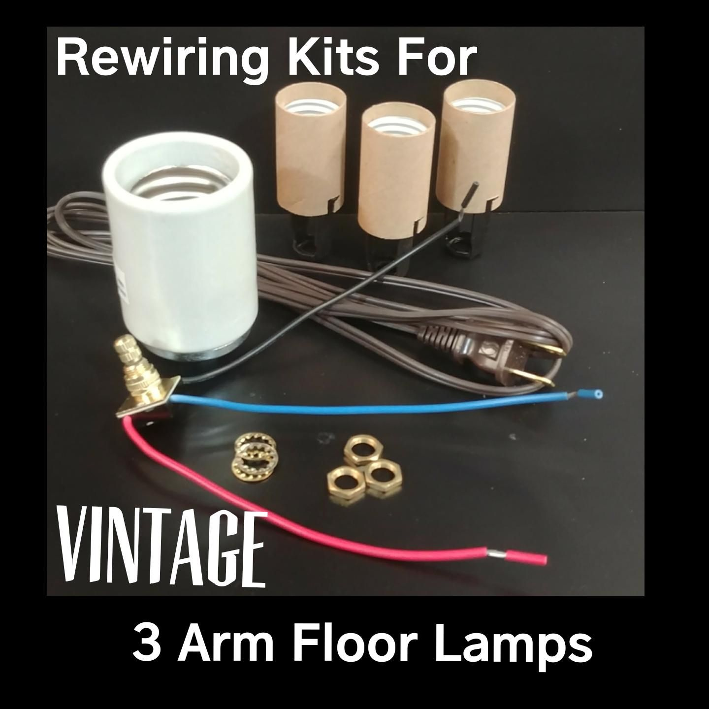 Lamp Rewiring Kits For Vintage 3 Arm Floor Lamps With Complete Diagrams And Instructions Arm Floor Lamp Floor Lamp Vintage Floor Lamp