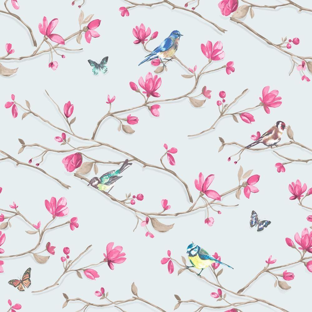 Neuf holden decor kira oiseaux papillon motif floral fleur rouleau papier pei - Papier peint oiseaux ...