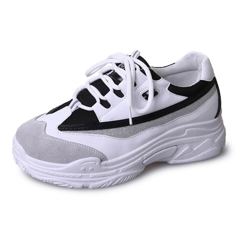 c2f568ededd214 2019 Spring Fashion Women Casual Shoes Leather Platform Shoes Women Sneakers  Ladies White Chunky Trainers Women Chaussure Femme