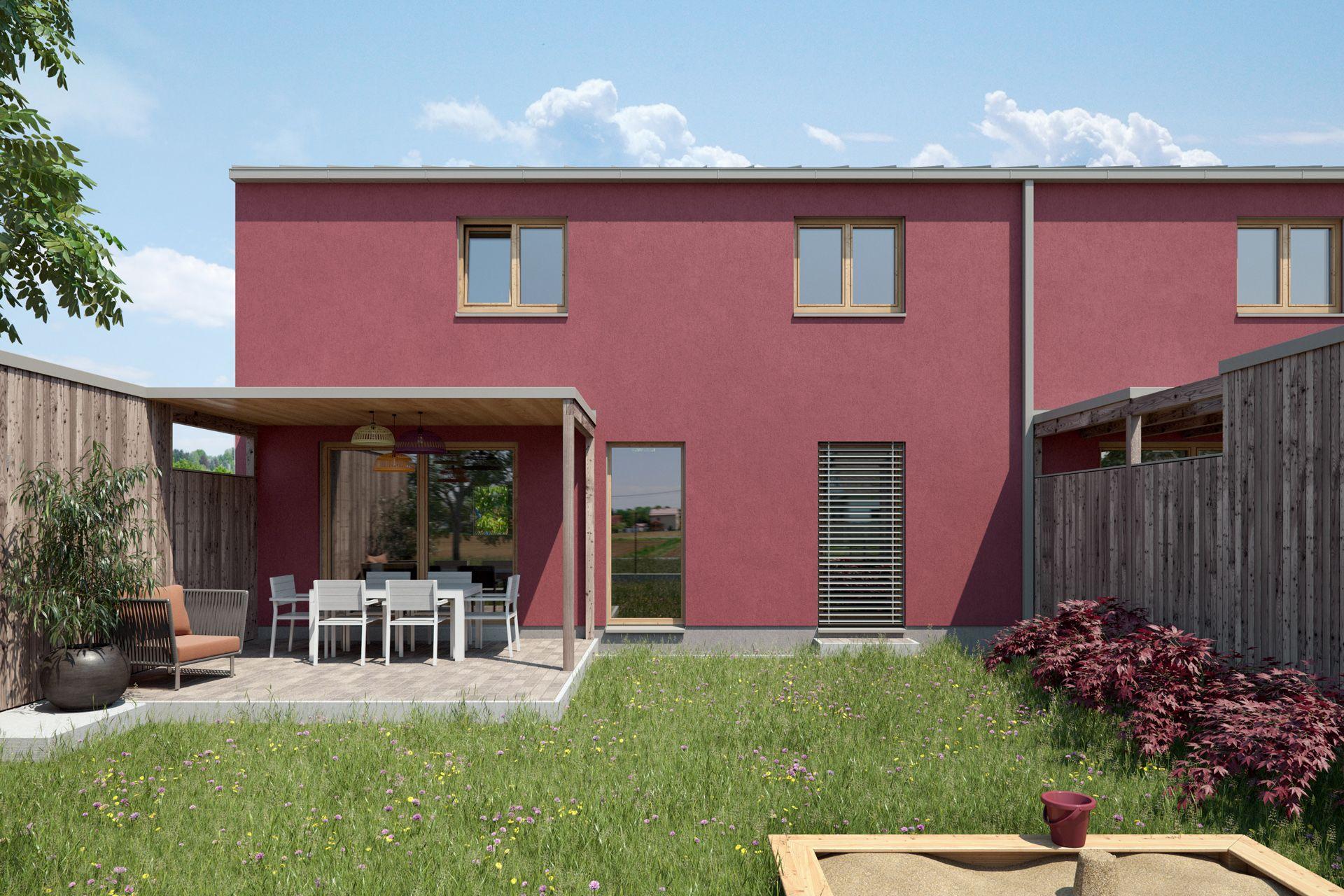 Wir erstellten für einen kleinen, aber feinen Wohnbau in Raaba die Aussenraum Schaubilder und ein Übersichtsrendering