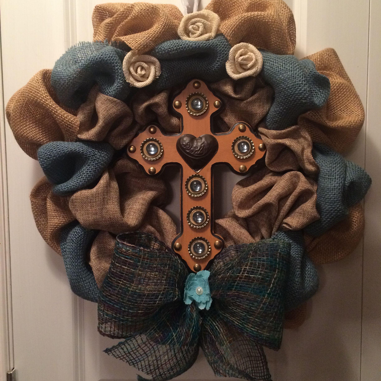 Burlap cross wreath 2