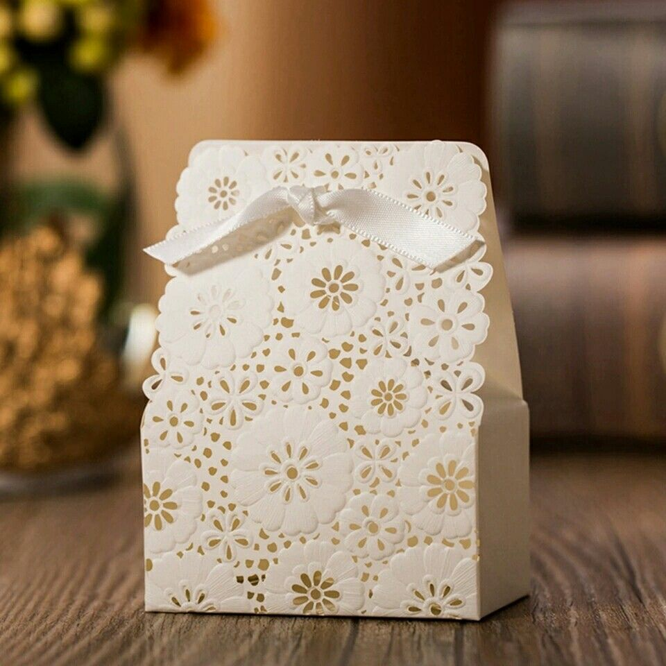 White Flower Laser Cut Wedding Favor Boxes Wedding Candy Box ...
