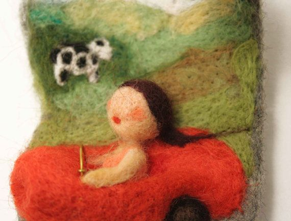 Felted brooch vacation on country side gift ideas by vilnone