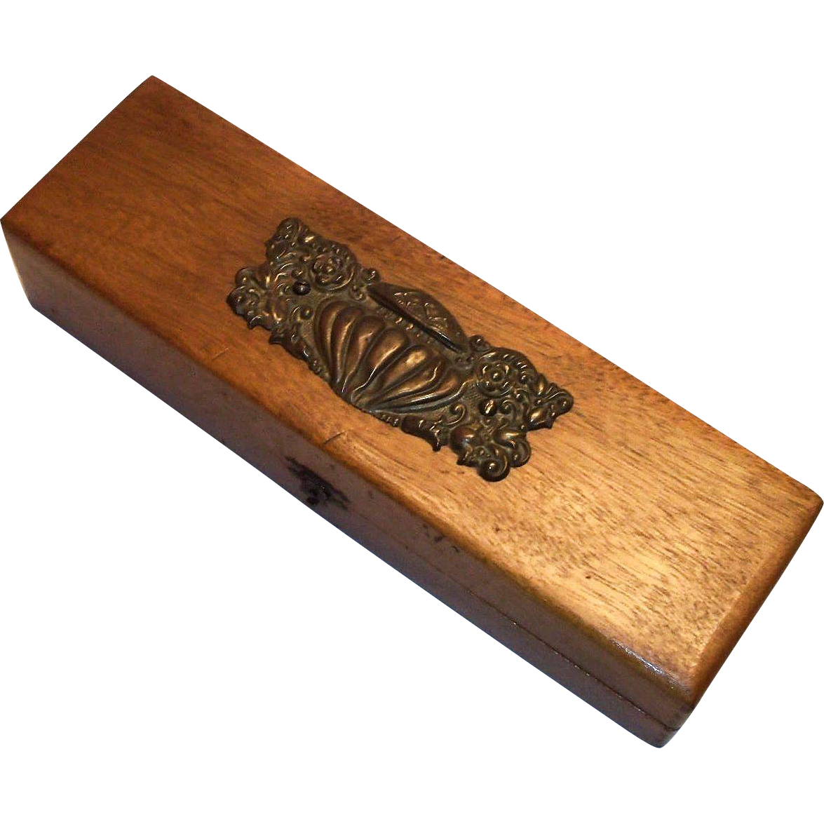 Lovely Wooden Glove Box With Metal Filigree Urn Top Design