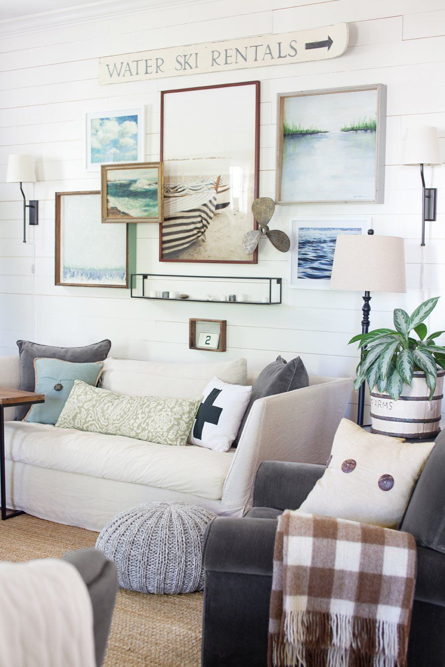 coastal-farmhouse-living-room-the-lettered-cottage | Costal Cottage ...