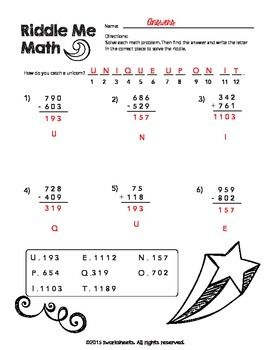 Riddle Me Math Worksheets Addition And Subtraction With Re Grouping Math Worksheets Math Worksheet Addition And Subtraction