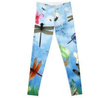 Leggings with 'There Be Dragons' whimsical dragonfly art by Nola Lee Kelsey