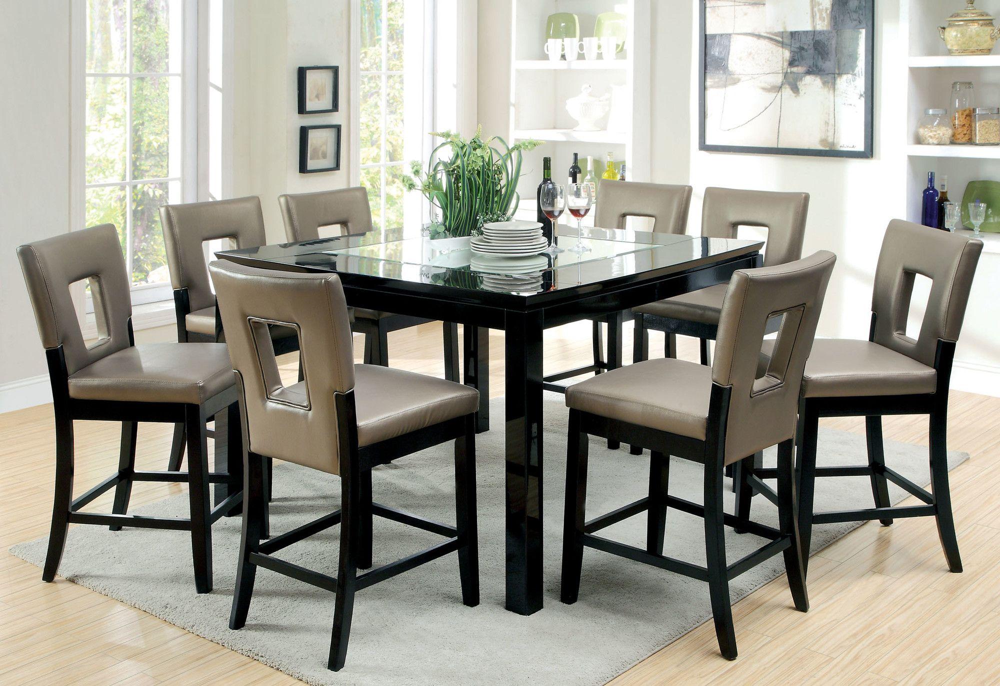 Hokku Designs Vanderbilte 9 Piece Counter Height Dining Set Dining Table Counter Height Dining Sets Counter Height Table Sets