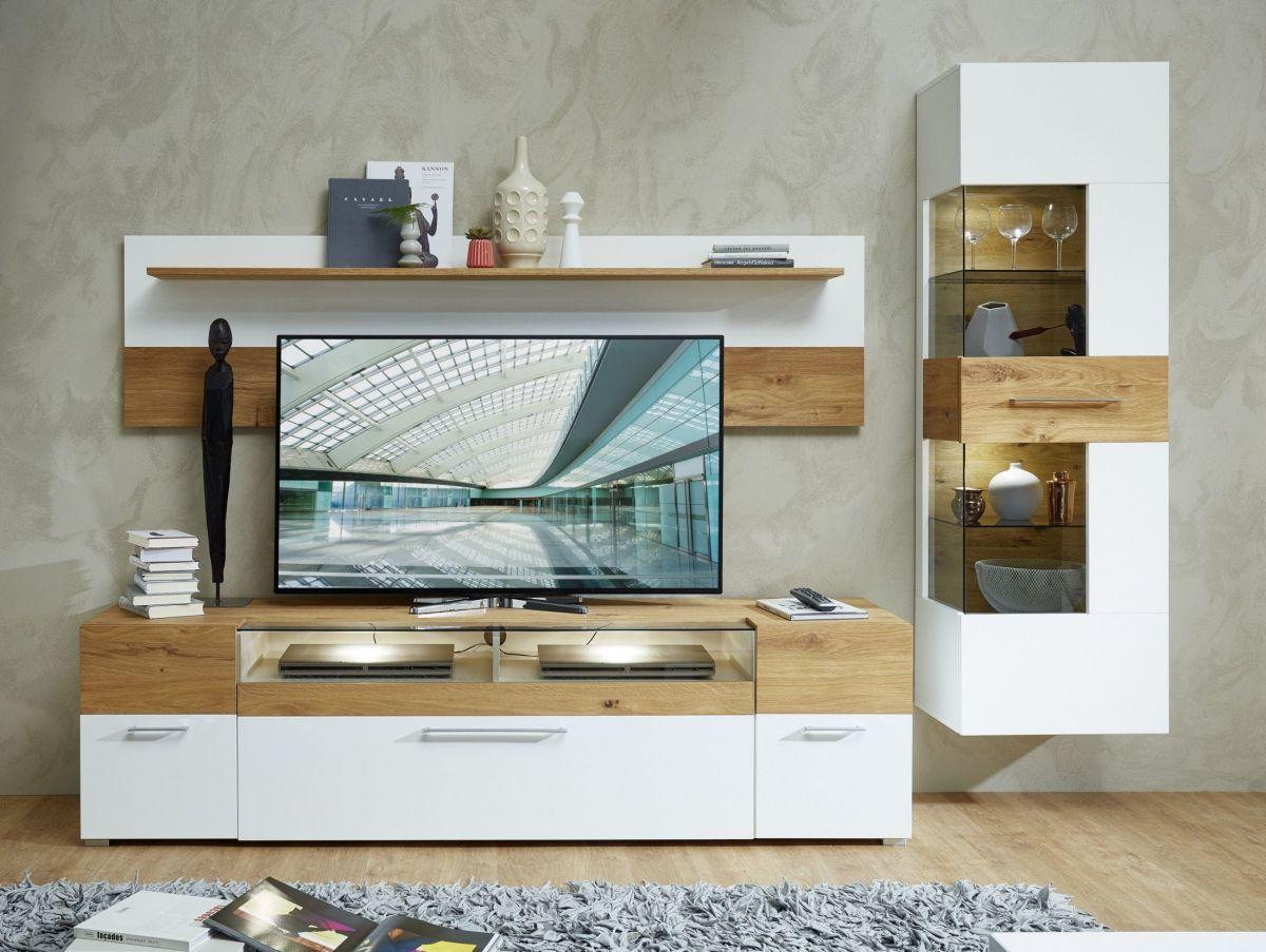 Wohnwand Weiss/ Wildeiche Mit Beleuchtung Woody 208 00001 Holz Modern Jetzt  Bestellen Unter: