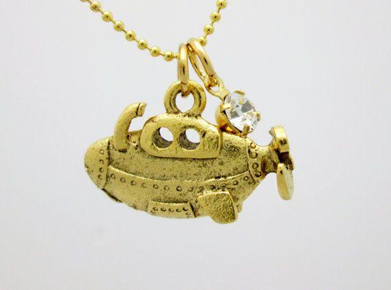Yellow Submarine Charm Necklace (B055). 24K Gold Plated Submarine Charm. on Etsy, $12.99