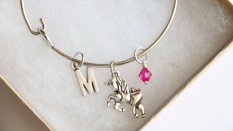 Unicorn Personalized Jewelry Bangle, Personalized Initial Bracelet, Birthstone Acrylic Color Charm, Unicorn Bangle, Gift, Friendship Bangle by boriville on Etsy https://www.etsy.com/listing/270510750/unicorn-personalized-jewelry-bangle