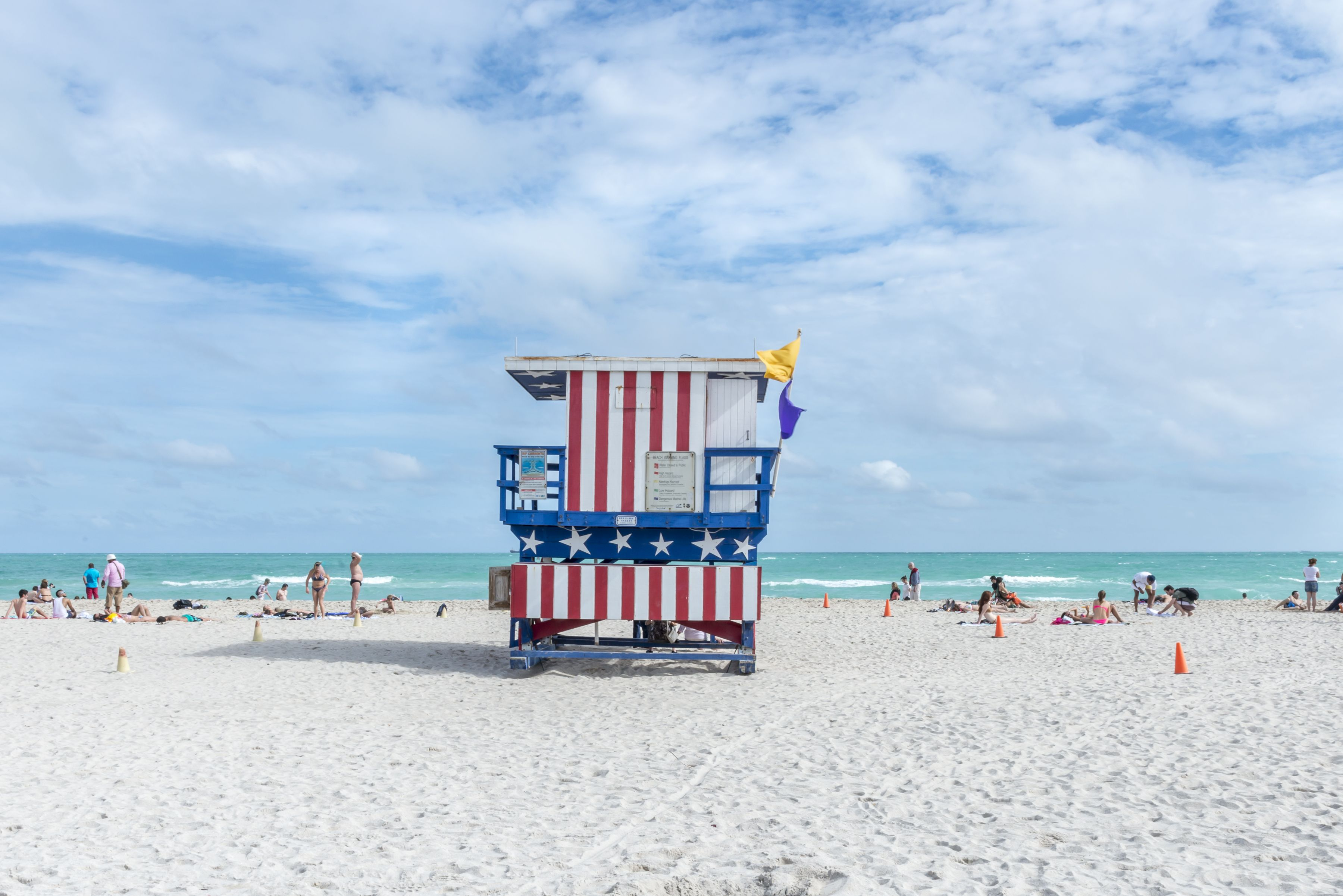 """South Beach Lifeguard Chairs"" Series in South Beach, Miami, Florida. Stars and Stripes. http://www.richardsilverphoto.com/Portfolios/South-Beach-Lifeguard-Chairs"