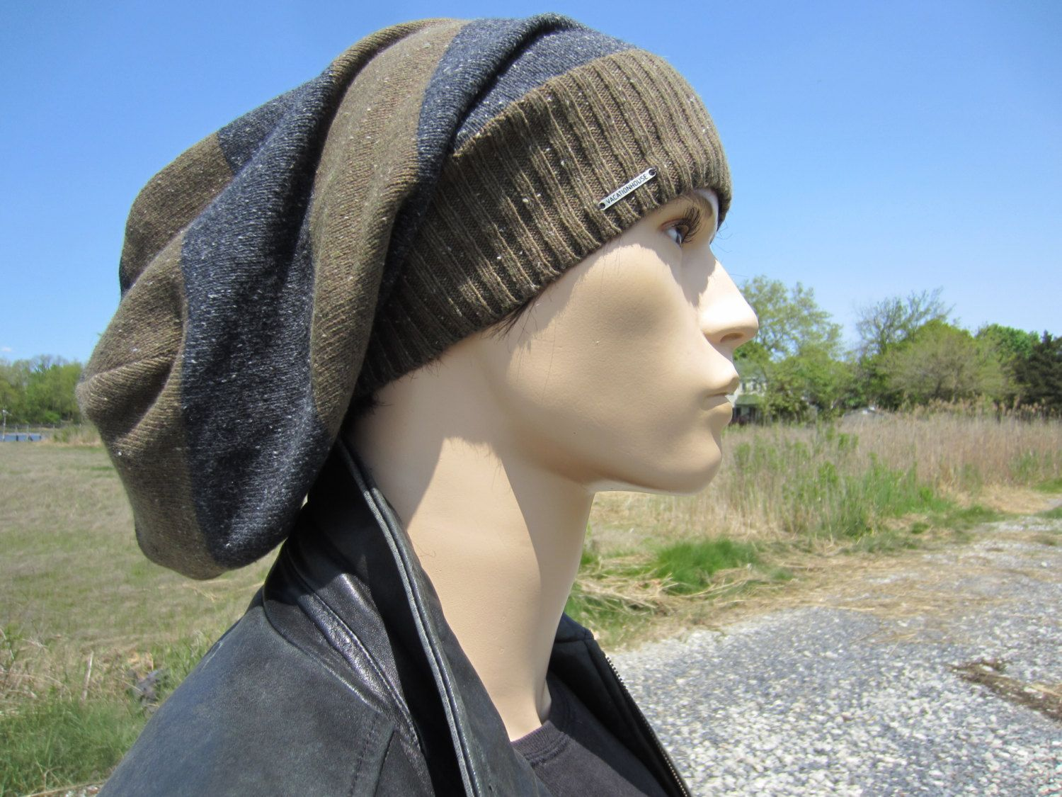 ccb4dd0add13be Extra Long Dreadlock Tam Hat Dread Tams for Men Slouchy Beanies Brown &  Light Gray Striped Cotton Knit A1619 by Vacationhouse on Etsy