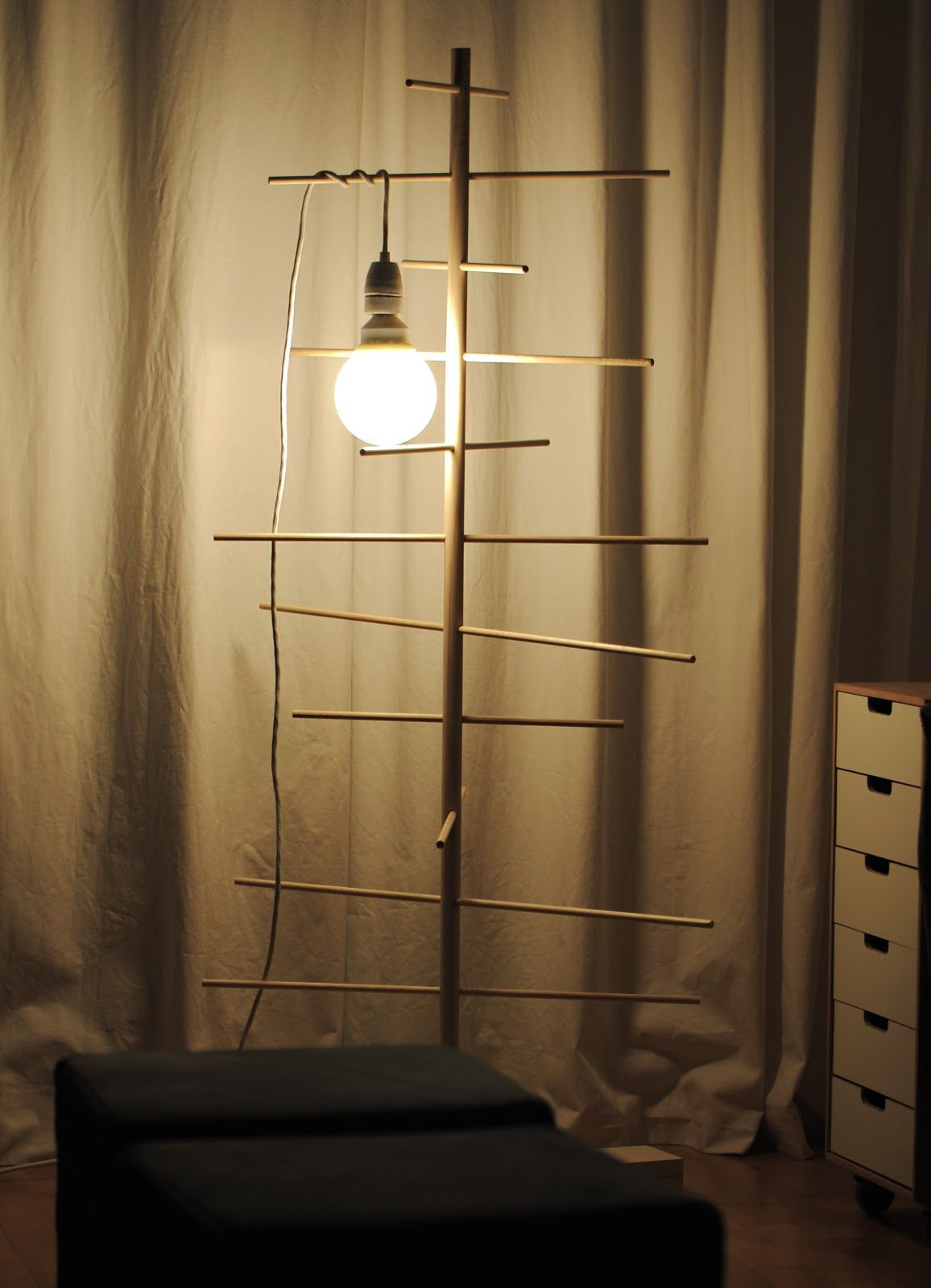 tree - broom-handle trunk + dowel branches | Lamp, Wall ...