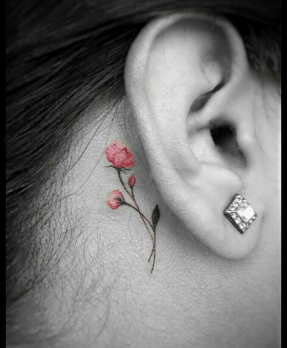 853257e00f077 Delicate cherry blossom ear tattoo | Tattoos ideas | Cherry tattoos ...