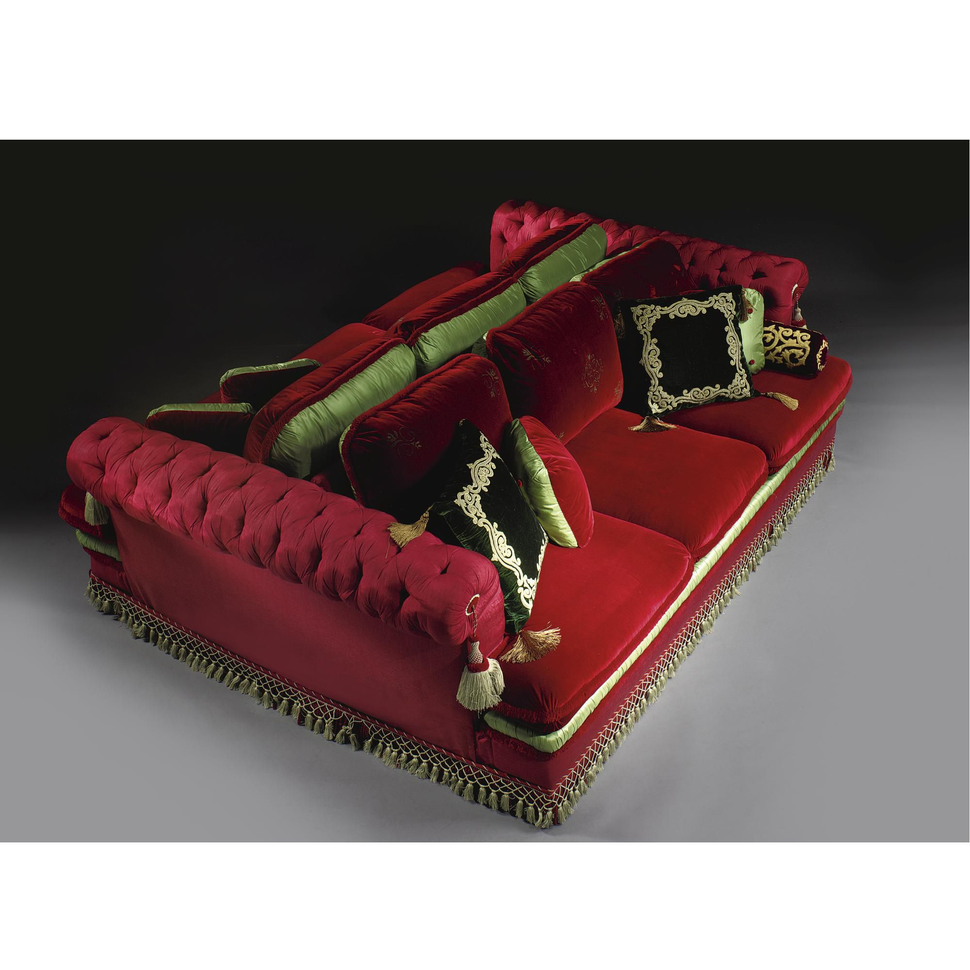 A Napoleon III style red velvet and satin button-tufted sofa designed by Alberto Pinto | Lot | Sotheby's
