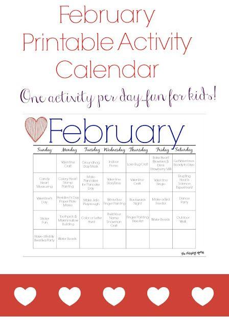 february printable activity calendar for kids