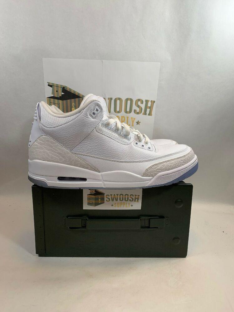 6f9b070497bd76 Nike Air Jordan 3 Retro 136064 111 Pure White White White Triple White Men  Sz 13  Nike  Basketball