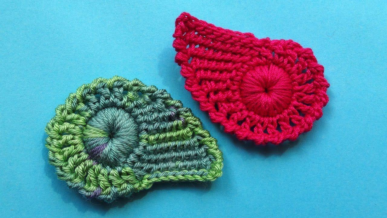 Crochet leaf pattern Комбинированный листик крючком Урок вязания 335 ...