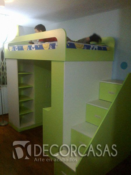 Cama de niños, con escalera de cajones, cama de una plaza y media ...