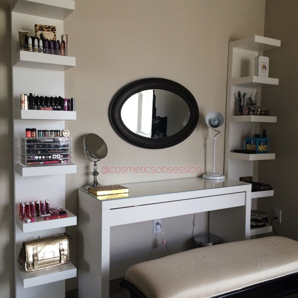 Makeup storage and organization ikea lack shelf unit malm dressing table my woman cave - Table coiffeuse ikea ...