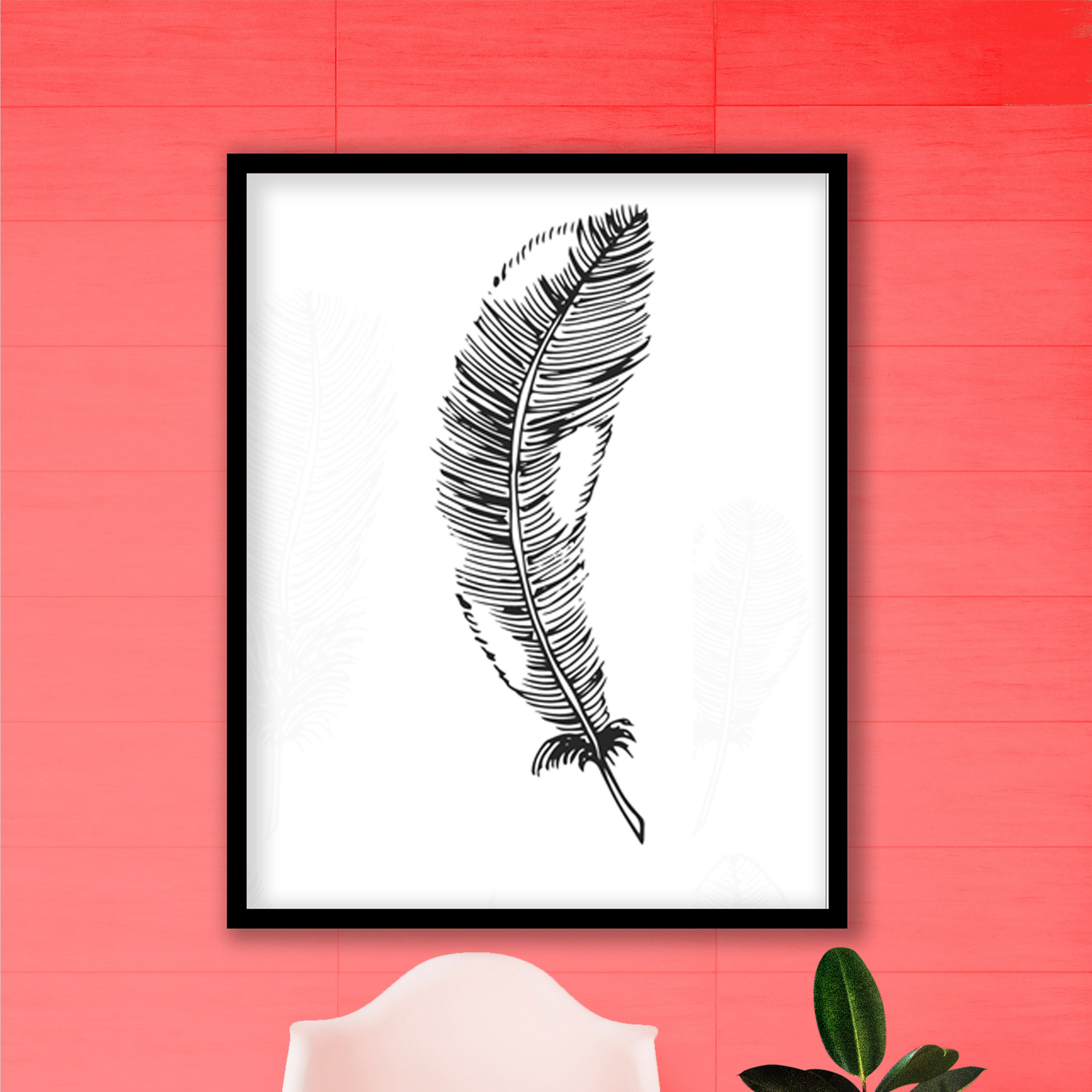 Feather 26 watercolor painting Framed Wall art, Ready
