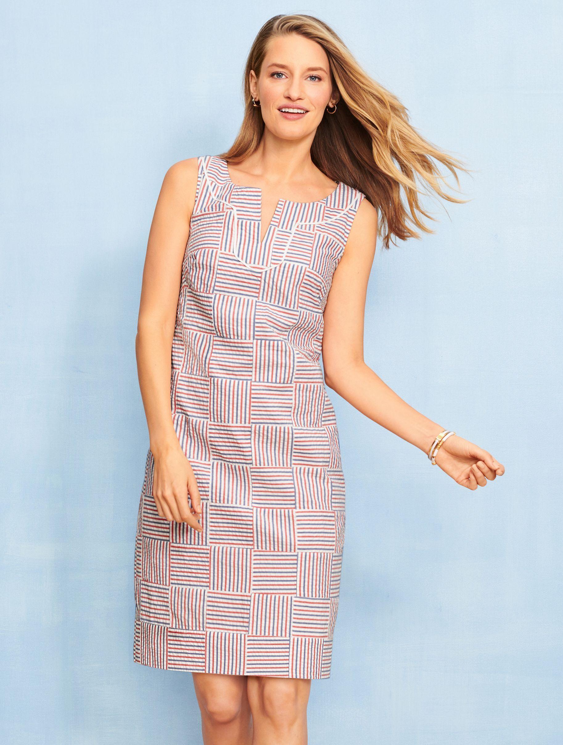 A Modern Spin On Preppy Seersucker Our Versatile Shift Dress Features A Classic Stripe Pattern Summer Fashion Outfits Seersucker Dress Indian Designer Outfits