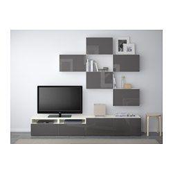 Merveilleux BESTÅ TV Storage Combination   White/Selsviken High Gloss/gray, Drawer  Runner
