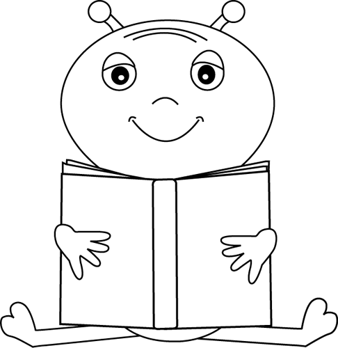 Black And White Alien Reading A Book Clip Art Black And White Alien Reading A Book Image Book Clip Art Space Coloring Pages Book Images