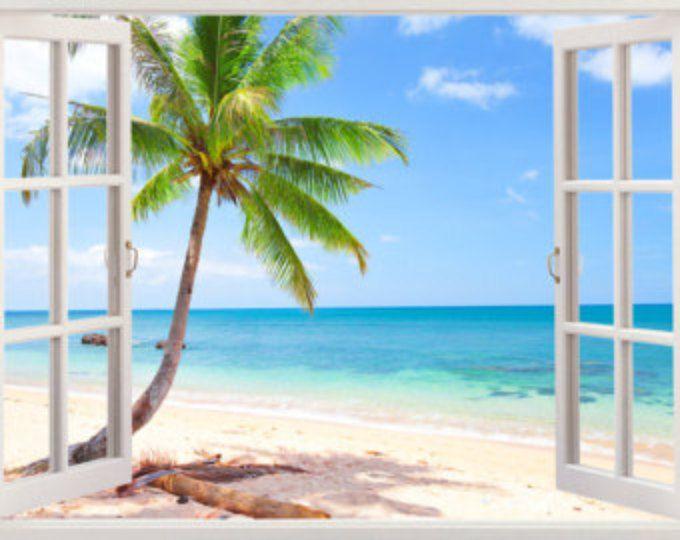 Palm Tree Beach Wall Decal 3D Window, Tropical Beach Decal Tree Decor, Beach  Wall