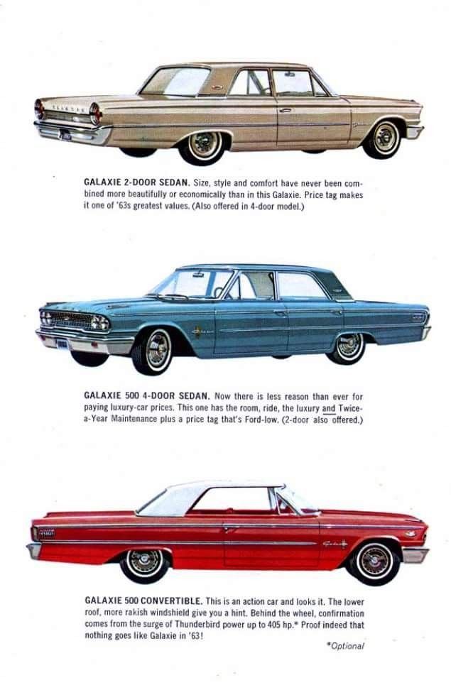 1963 Ford Galaxies Brochure Ford Classic Cars Retro Cars Ford Galaxie