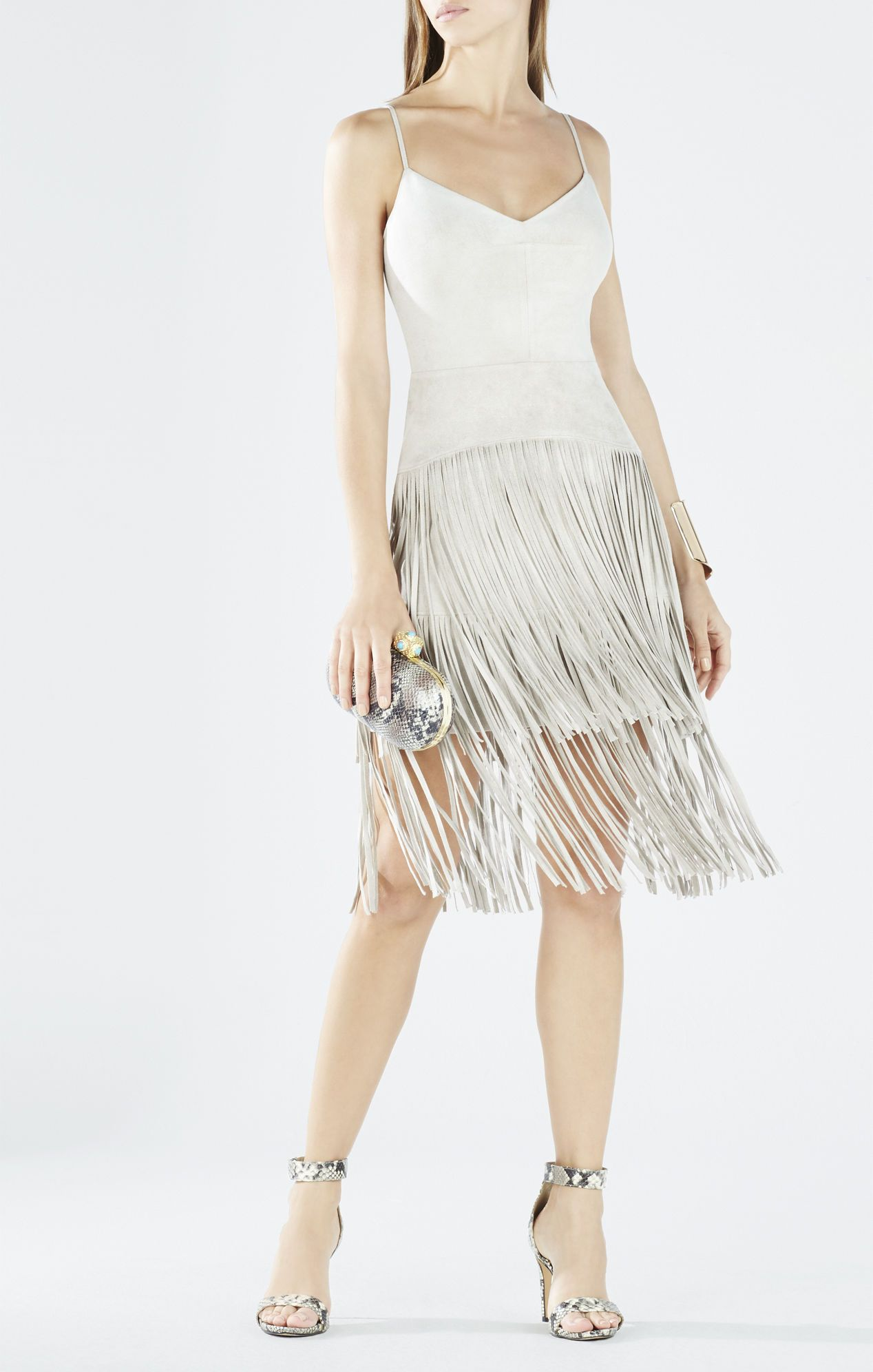 Evin Faux-Suede Tiered Fringe Dress | BCBG | Pinterest