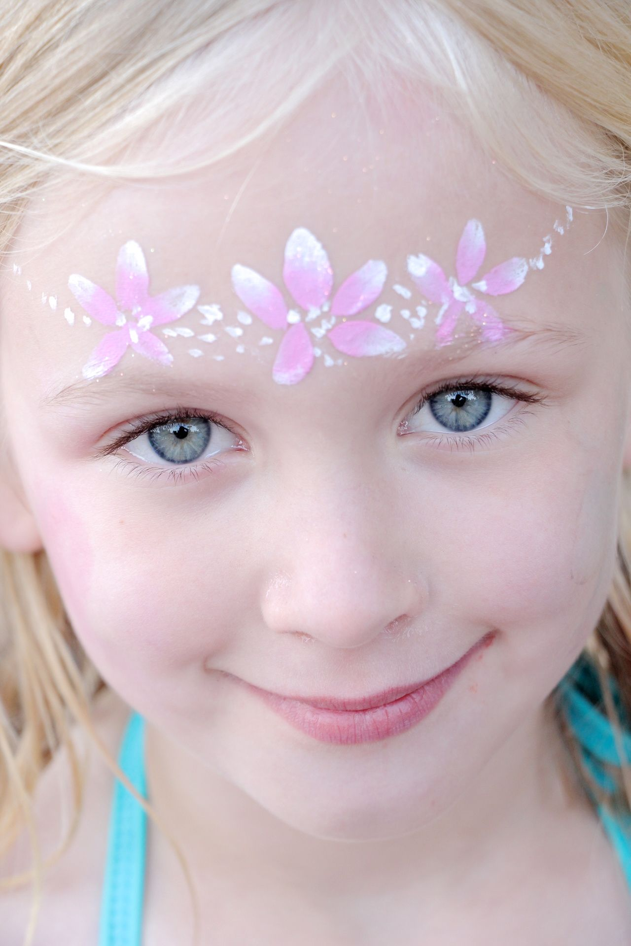 flower princess crown facepaint