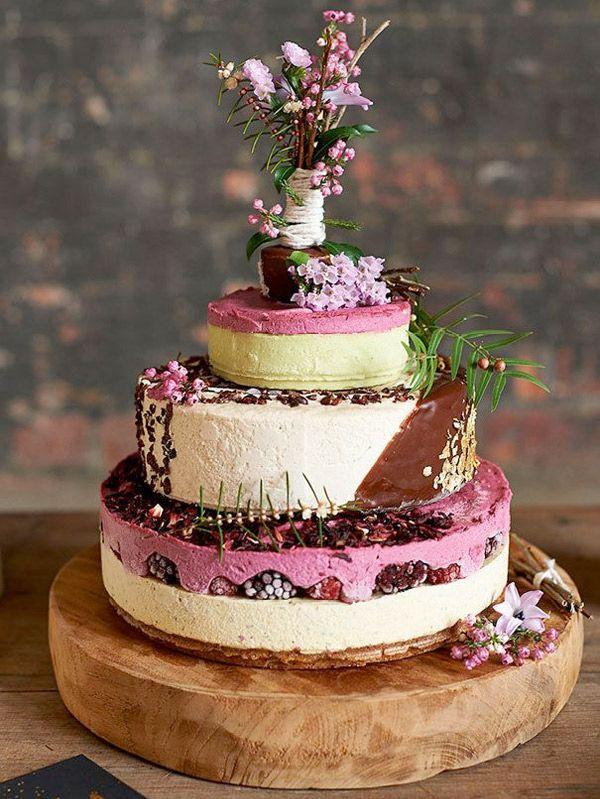 Three Tier Berry Cheesecake Wedding Cake Brides Of Adelaide