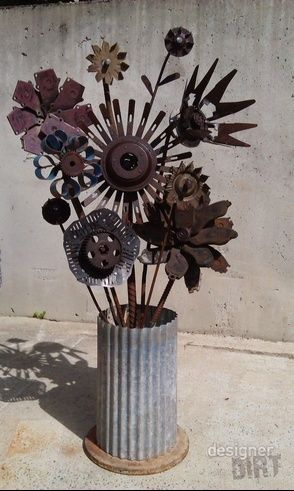Recycled Metal Flowers Garden Art At Designer Dirt With Images