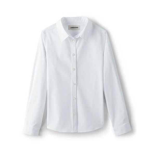 School Uniform Long Sleeve Stretch No Gape Shirt from Lands' End ❤ liked on Polyvore featuring lands' end