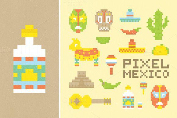 Pixel mexican set by Dmitry Loshkin on @creativemarket