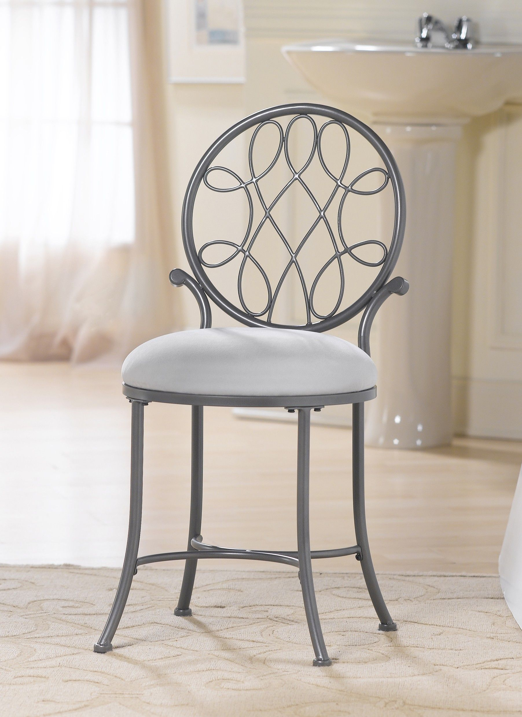 Bathroom Vanity Chairs Crayola Wooden Table And Chair Set Furniture Gray Polished Wrought Iron With Rounded White Tone Padded Seat Ornate Back Rest For Vanitychair
